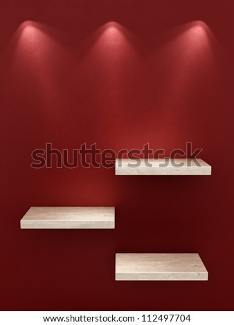 render of 3 empty shelves