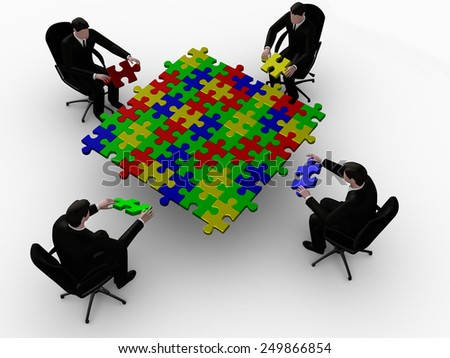 Render of four   businessman joining table of puzzle color  pieces - stock photo