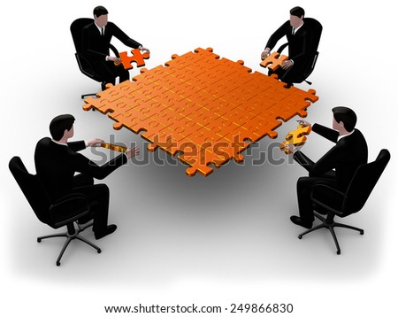 Render of four  businessman joining table of puzzle golden  pieces  - stock photo