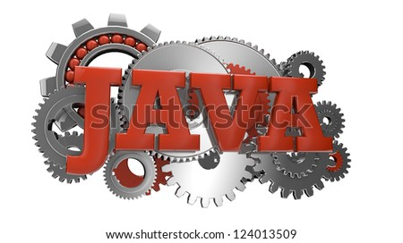 render of gears and the text java