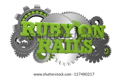 render of gears and the text ruby on rails