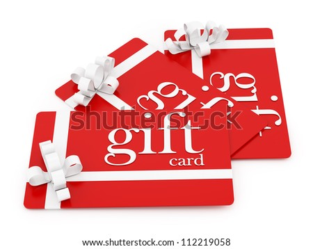 render of 3 gift cards, isolated on white - stock photo