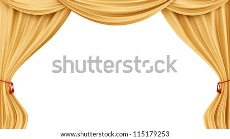 Render Of Gold Curtains Isolated On White