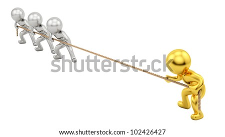 render of gold human and silver humans pulling rope