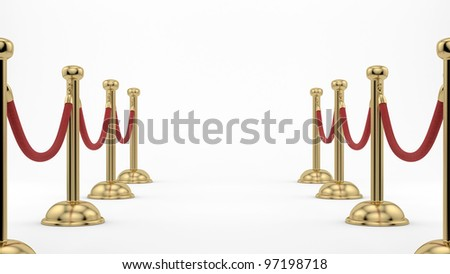 render of golden stanchions - stock photo