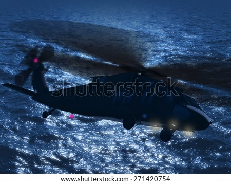 Render of helicopter Chinook UH-60 flying over ocean night - stock photo