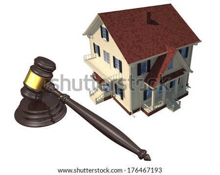 Render of home and gavel isolated on white