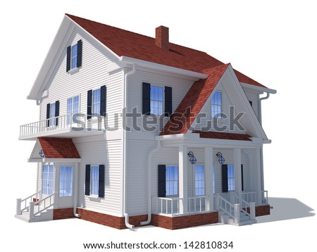 Render of home exterior isolated on white - stock photo
