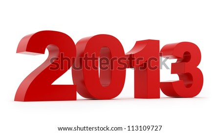 render of 2013, isolated on white
