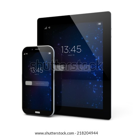 render of locked smartphone and tablet