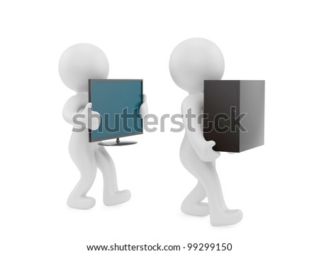 render of 2 man carrying PC case and screen - stock photo