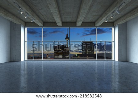 Render of modern, empty luxurious apartment at night. - stock photo