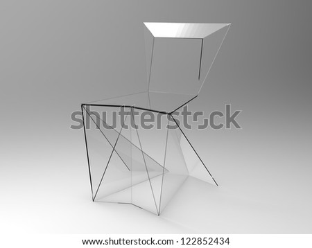render of Origami concept chair on a gray background - stock photo