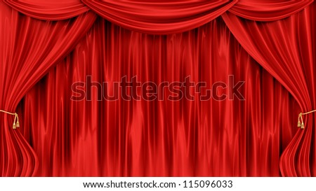 render of red curtains