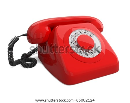 Render of red retro telephone isolated on white