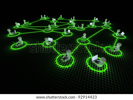 render of several people connected to each other - stock photo