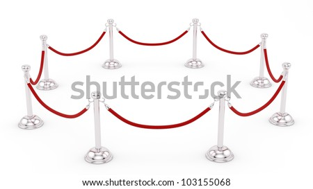 render of silver stanchions - stock photo