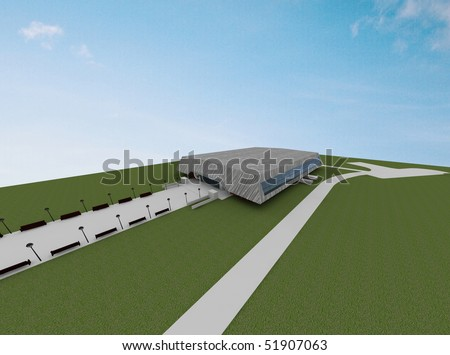 render of sport hall concept