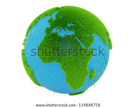render of the globe from grass, isolated on white