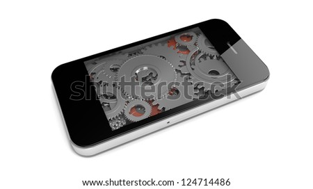 render of the interior of an smart phone made of gears