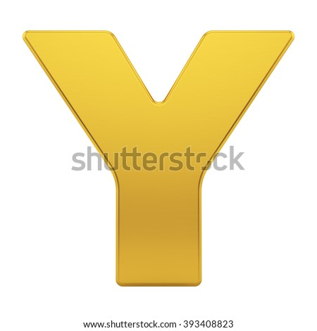 render of the letter Y with brushed gold texture, isolated on white