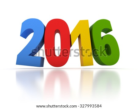 Render of the New Year 2016 with colors - stock photo