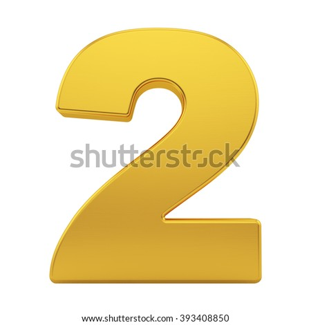 render of the number 2 with brushed gold texture, isolated on white - stock photo
