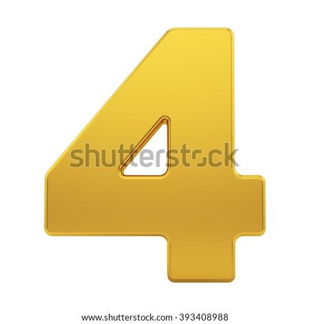 render of the number 4 with brushed gold texture, isolated on white - stock photo