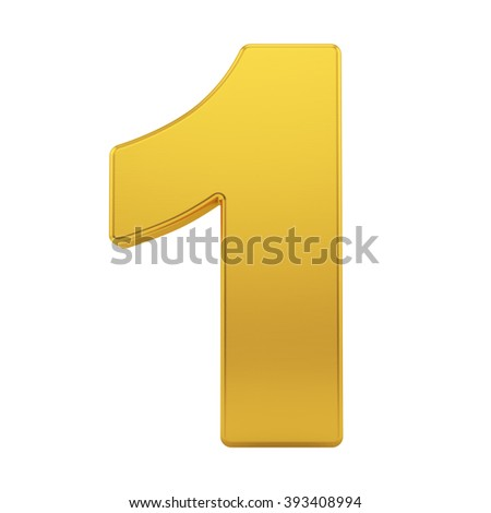 render of the number 1 with brushed gold texture, isolated on white - stock photo