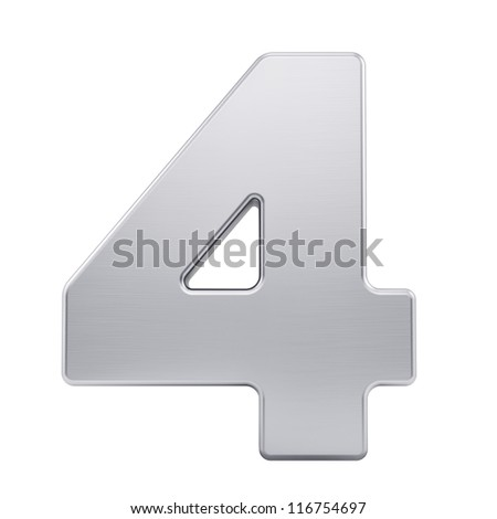 render of the number 4 with brushed metal texture, isolated on white