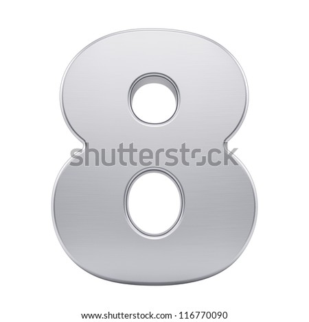 render of the number 8 with brushed metal texture, isolated on white - stock photo