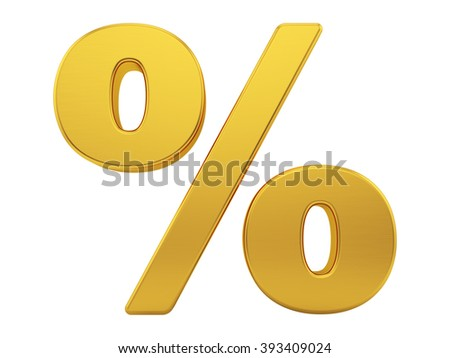 render of the percentage sign with brushed gold texture, isolated on white
