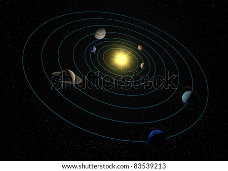 render of the solar system - stock photo