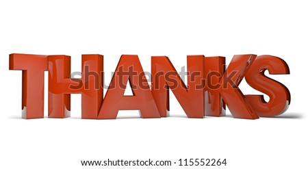render of the text thanks - stock photo