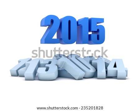 Render of the year 2015 and other years - stock photo