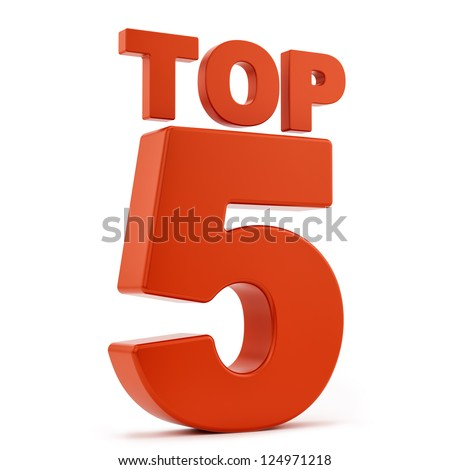 render of top 5, isolated on white - stock photo