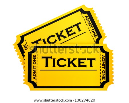 render of two tickets, isolated on white - stock photo