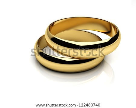 Render of two wedding rings on a white reflective isolated background - stock photo