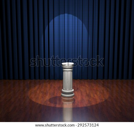 Render of white marble pedestal standing on wood stage with blue curtains.