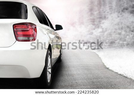 render of white sport car without a trade brand and winter trip  - stock photo