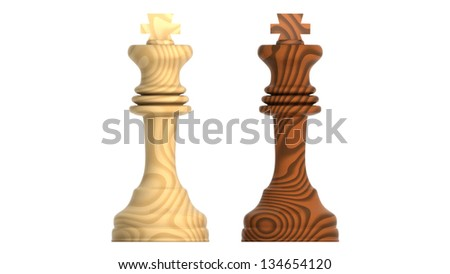 Render of Wood Kings isolated on White Background. - stock photo