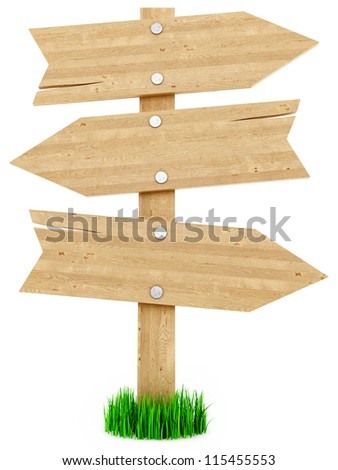 render of wood signs, isolated on white
