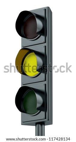 render of yellow traffic lights - stock photo