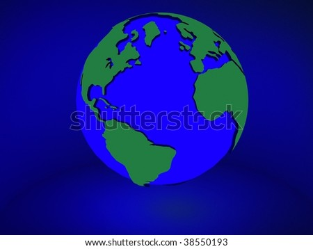 rendered earth with neon glow