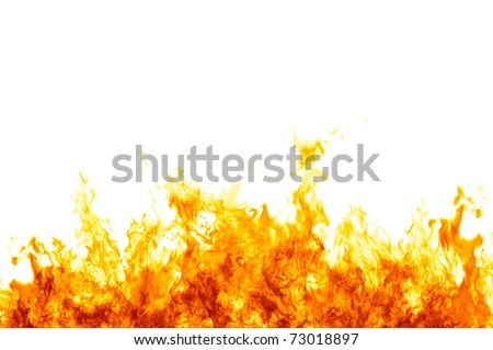 Rendered flames on a white background - stock photo