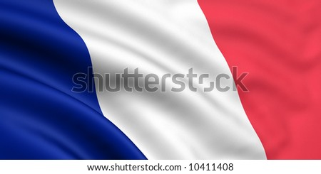 Rendered french flag - stock photo