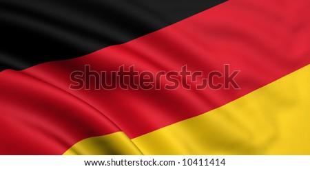 Rendered german flag - stock photo