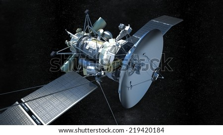 rendered illustration of a communications satellite in galaxy  - stock photo