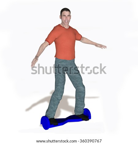 rendered illustration of a young man on a hoover board