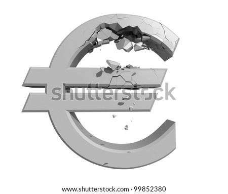 Rendered image of a crumbling Euro symbol isolated on a white backgroun - stock photo